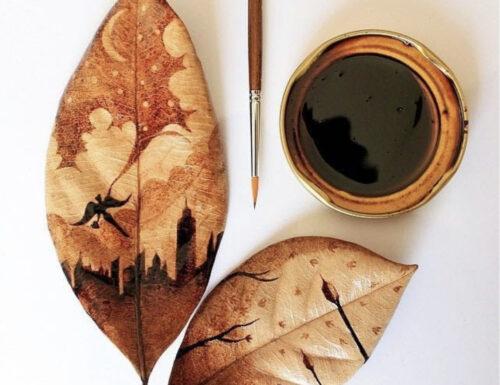 Dipinge col caffè sulle foglie d'autunno: è la splendida arte di Ghidaq al-Nizar