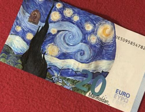 Mari Roldàn, l'artista che ispirava a diventare assistente di volo e che ora fa viaggiare le sue banconote dipinte